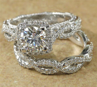 fashion wedding cz ring set twist band ring with cz paved ladies new design women rings