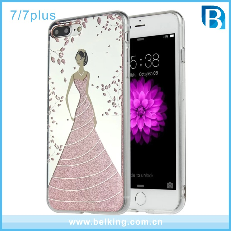 IMD Mobile Accessories Wedding Dress Girl Design Shining Bling Crystal Diamond Hard Back Case Skin Cover For iphone 7 case