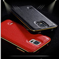 Luxury leather back + metal aluminum bumper frame cover case for Samsung galaxy phones