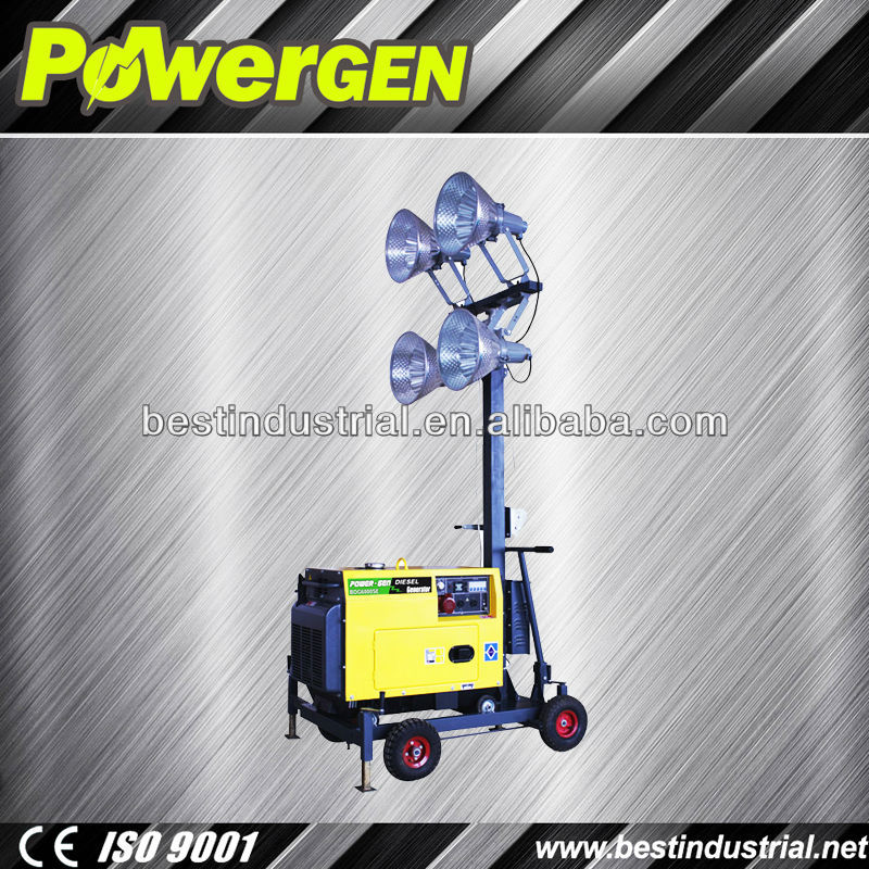 Hot sale!!! POWER-GEN 4 lights 4*400w 5KW Mini Type Towable Light Tower