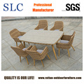 Half Round Weaving Patio Polywood Dining Set Dining Table & Chairs (SC-1722)