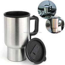 Travel Heated Cups Car 12v Thermal Heater Electric Mug 500ML Stainless Steel Mug