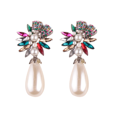 10916 Barlaycs Flower Crystals Stud Earring for Women Double Sided Fashion Jewelry Earrings female Ear brincos