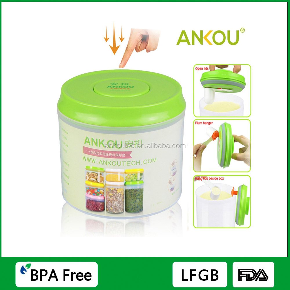 One Touch Button 800ML Food Grade BPA Free Round Storage Container/ Airtight Food Grade PP Storage Container