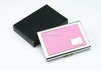 Pink PU Leather Surface Stainless Steel Card Case, RFID Blocking Credit Card Wallet