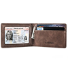 Slim Mini Size Wallet ID Window Genuine or PU Leather Card Case with RFID Blocking