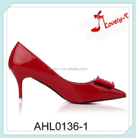 Beautiful design lady shoes party high heel pointed toe red dress shoes