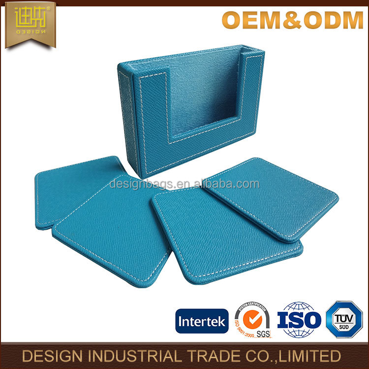 latest decorative classic Blue PU leather drink coaster set with lint 2017 classic table tea coffee square coaster
