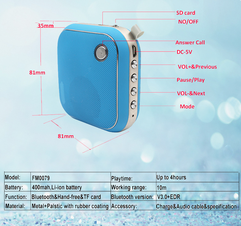 jy-17 bleutooth mini t-2096a shenzhen micro digit product wireless s207 midrange bluetooth portable speaker of