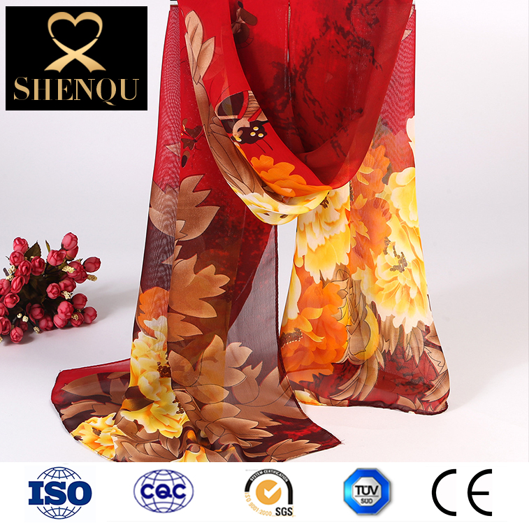New Women Chiffon Floral Printed Designer Scarf Summer Beach Shawl Gradient Plaid Flower Casual Silk Scarves Long Wrap Pashmina