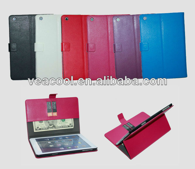 "Lichi Wallet Leather case with Credit ID Card Holder For Apple Ipad MINI 7""tablet"