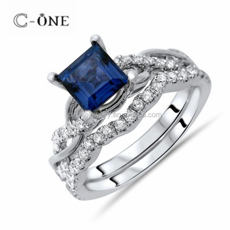 Adorable Stimulated Blue Topaz Silver Engagement Ring for Women