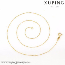 42614- Xuping Simple Design Women Fashion Gold Thin Chain Bead Necklaces