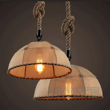 Industry loft American rustic seires hemp rope hanging light