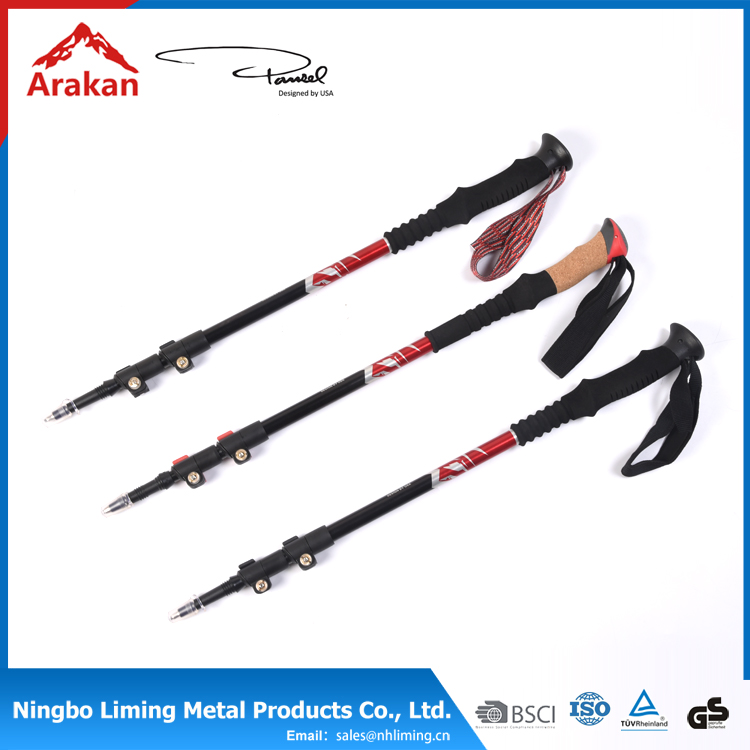 tungsten carbide steel quick lock soft EVA ,plastic rubber foot 3-sections climbing sticks