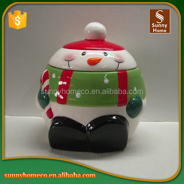 2017 Wholesale Christmas snowman candy Ceramic Storage Jars