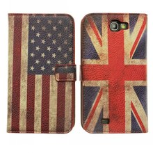 Retro vintage uk usa flag wallet leather flip case for samsung galaxy note 2 n7100