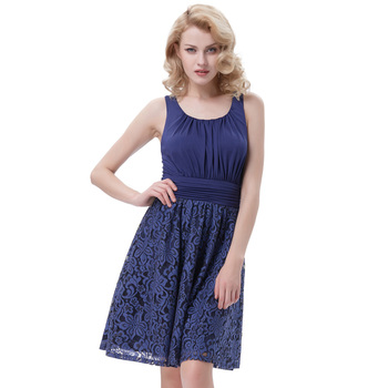 Belle Poque Retro Vintage Sleeveless Crew Neck Pleated Navy Blue Lace Splicing A-Line Dress BP000291-1
