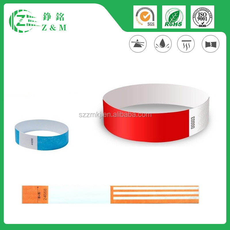 Direct Supply Customized Tyvek Wristband For Party