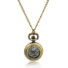 Antique Bronze Clock Mechanical Fashion Jewelry pendant with chain Pocket Watch