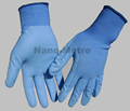 NMSAFETY 13 gauge blue polyester liner coated blue water PU on palm gloves