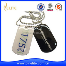 custom made rock metal dog tag with printed logo and epoxy dome