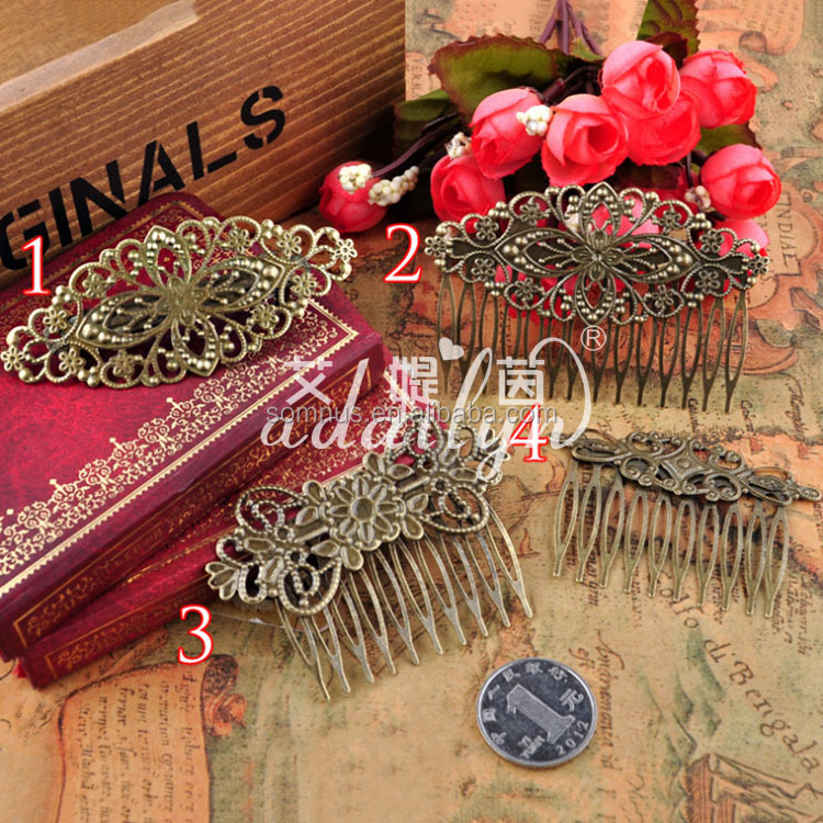1pcs Fancy DIY Comb Accessories Bronze Decorative Plated Vintage Hair Comb HC0023B