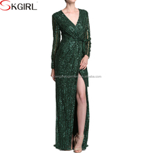2017 Boutique quality green long sleeve deep v neck luxury sequin maxi evening dresses for women sexy party night