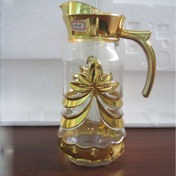 7pcs gold plated glass water jug set/dinnerware sets/glass drinking set
