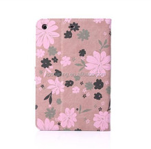 Leather case with sleeping function for ipad mini, Flower leather case for ipad mini 2