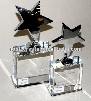 Noble Crystal Optical Crystal with Shiny metal Star Award Trophy