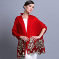 2015 NEW 100% Wool high quality elegant peacock scarf shawl red