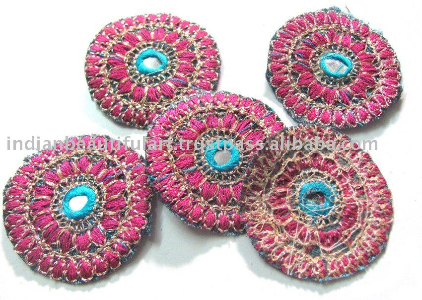 Pink Blue Embroidered Fabric Applique Sequin Mirror