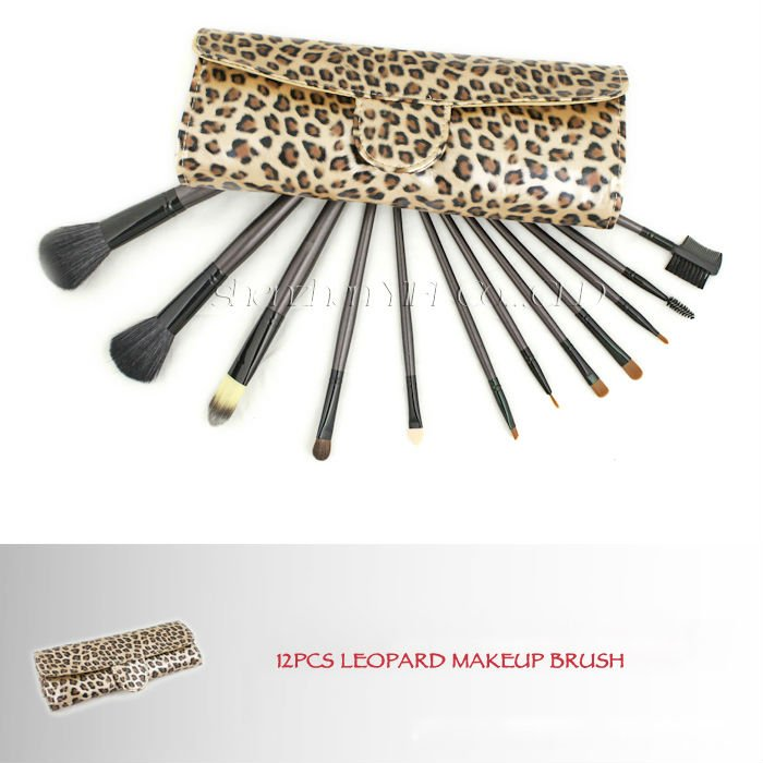 Hot Sale! Professional 12 pcs cosmetic brush leopard case