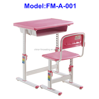 FM-A-001 Plastic adjustable height children desk and chair for school