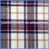 100% Cotton Twill Plaid Woven Yarn Dyed Flannel Fabric For Garment