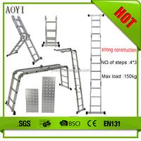 Folding Telescopic Portable 12.5 ft Aluminum Extension Ladder Multi Purpose