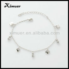 Hottest crystal silver anklet payal