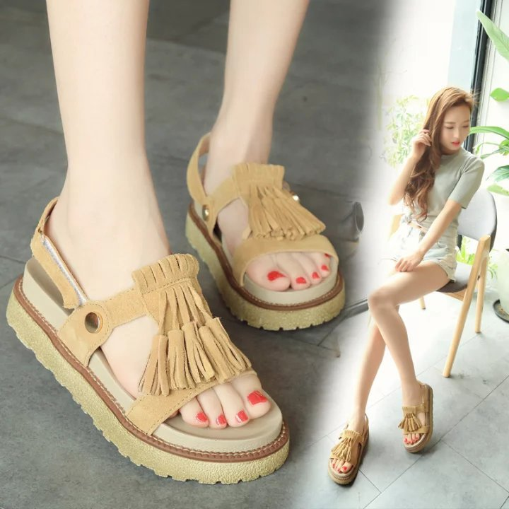 B20327A 2017 Summer fashion fringed flat sandals roman style princess sandals