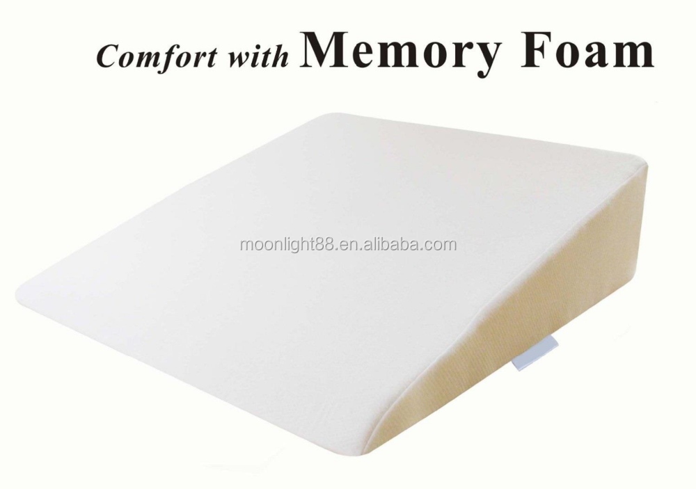 Foam wedge bed pillow with removable cover