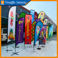 Wholesale custom banner advertising feather shape teardrop beach flag