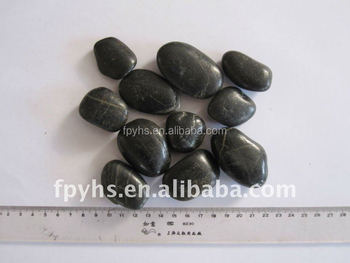 black polished oval garden pebbles