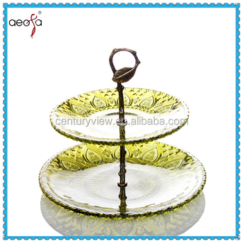 2tier modern decorative glass cake plates stands western wedding in dishes&plates