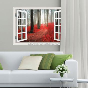 ALFOREVER 3D window for home decoration,Harbour Night,Harbour Wharf, Montreal leaves forest pvc decals