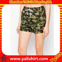 New model sportswear breathable cheap fintess elastic waist cotton women military camouflage shorts