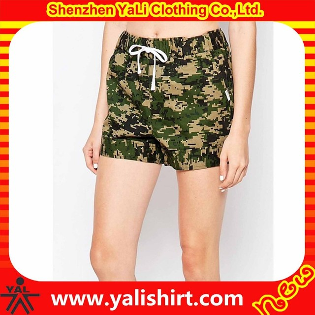 New model sportswear breathable cheap fitness elastic waist cotton women military camouflage shorts