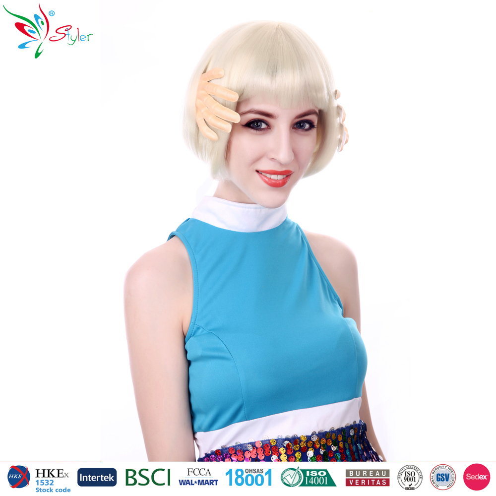 2016 Styler Brand asian women hair wig synthetic wholesale white wigs