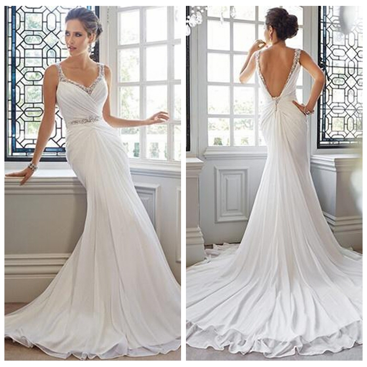 chiffon beaded bodice mermaid high-low wedding dress patterns