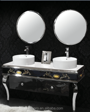 Asian style antique double sink stainless steel bathroom vanity with legs