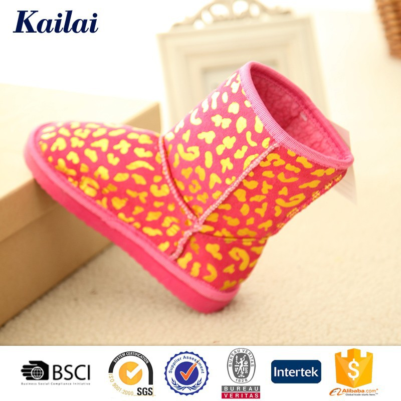 chinese high quality fashion gloden stamp sheep wool child snow boot